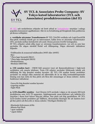 SV TCL & Associates Probe Company: SV Tokyo katod laboratorier (TCL och Associates) produktrecension (del II)