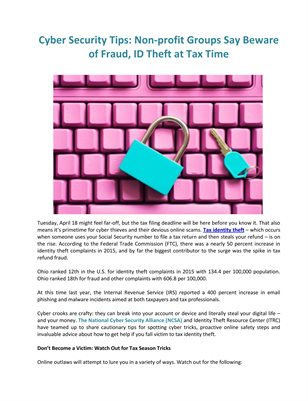 Cyber Security Tips: Non-profit Groups Say Beware of Fraud, ID Theft at Tax Time