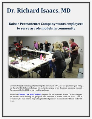Kaiser Permanente: Company wants employees to serve as role models in community - Richard Isaacs MD