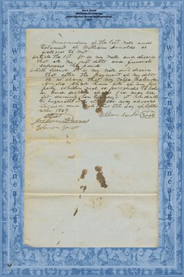 PG. 1-2, 1849 BATH COUNTY (Owingsville), KENTUCKY- WILL of WILLIAM ARNOLD to wife MALINDA
