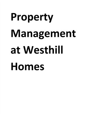 Property Management at Westhill Homes