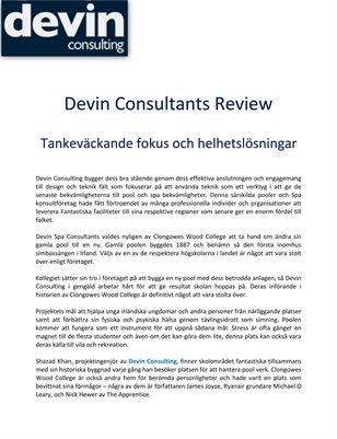 Devin Consultants Review: Tankeväckande fokus och helhetslösningar