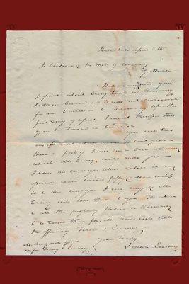 1835 Josiah Quincy Letter, Rumney, Grafton County, New Hampshire