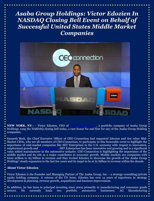 Asaba Group Holdings: Victor Edozien In NASDAQ Closing Bell Event on Behalf of Successful United States Middle Market Companies