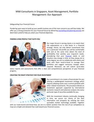 MWI Consultants in Singapore, Asset Management, Portfolio Management: Our Approach