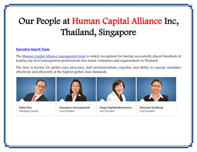 Our People at Human Capital Alliance Inc, Thailand, Singapore