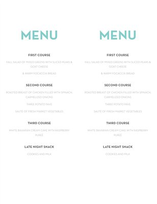 Modern Aqua Wedding Menu
