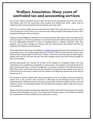 Wallace Associates: Many years of unrivaled tax and accounting services
