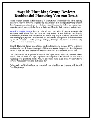 Asquith Plumbing Group Review: Residential Plumbing You can Trust