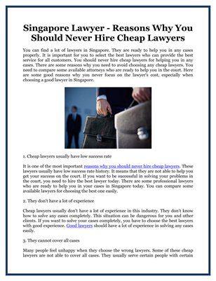 Singapore Lawyer - Reasons Why You Should Never Hire Cheap Lawyers