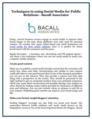 Techniques in using Social Media for Public Relations - Bacall Associates