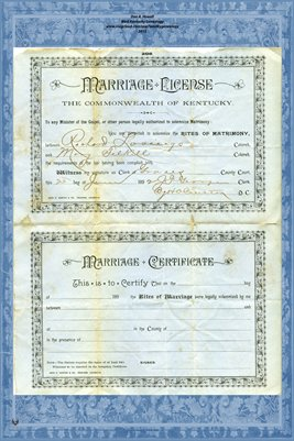 1892 Marriage License and Certificate for Richard Lovings and Mary Felkill, Graves County, Kentucky