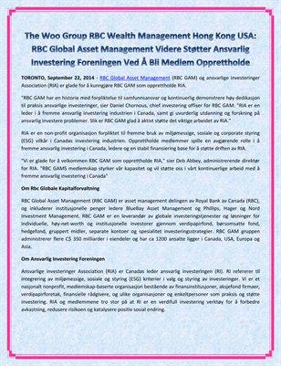 The Woo Group RBC Wealth Management Hong Kong USA