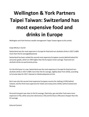 Wellington & York Partners Taipei Taiwan: Switzerland has most expensive food and drinks in Europe