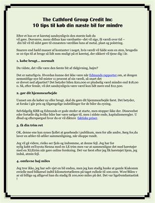 The Cathford Group Credit Inc 10 tips til køb din næste bil for mindre