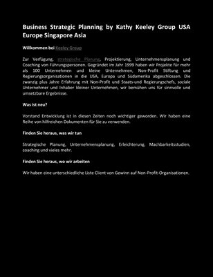 Business Strategic Planning by Kathy Keeley Group USA Europe Singapore Asia