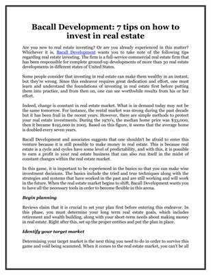 Bacall Development: 7 tips on how to invest in real estate