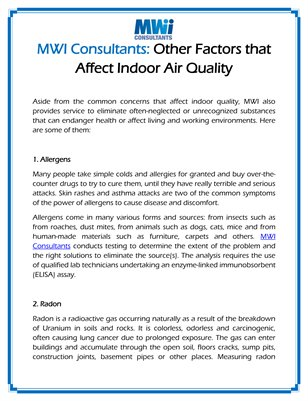 MWI Consultants: Other Factors that Affect Indoor Air Quality