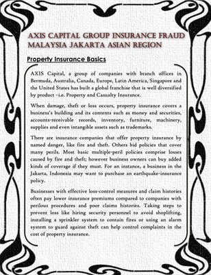 Axis Capital Group Insurance Fraud Malaysia Jakarta Asian Region