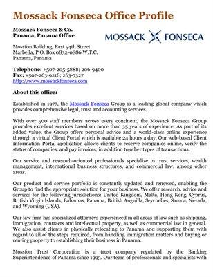 Mossack Fonseca Office Profile