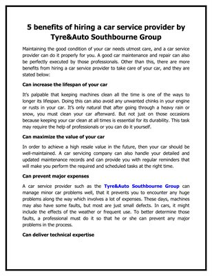 5 benefits of hiring a car service provider by Tyre&Auto Southbourne Group