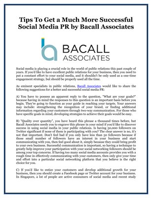Tips To Get a Much More Successful Social Media PR by Bacall Associates
