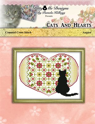 Cats And Hearts August Cross Stitch Pattern