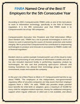 FINRA Named One of the Best IT Employers for the 5th Consecutive Year