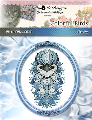 Colorful Birds Blue Jay Counted Cross Stitch Pattern