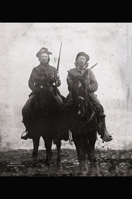CSA VETERAN CALVIN CLARK ON HIS HORSE WITH HIS PISTOL