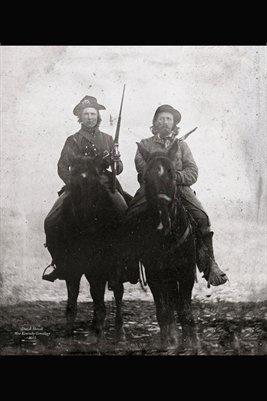 CSA VETERAN CALVIN CLARK ON HIS HORSE WITH HIS PISTOL