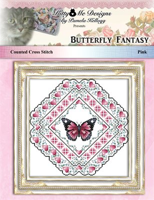 Butterfly Fantasy Cross Stitch Mandala Pattern Pink