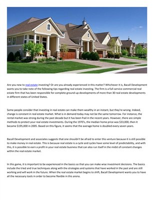 Bacall Associates tips on how to invest in real estate