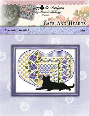 Cats And Hearts May Cross Stitch Pattern