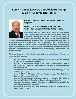Bennett Jones Lawyers and Advisors Group Martin P.J. Kratz QC, FCIPS