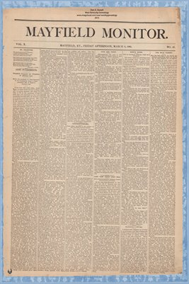 (PAGES 1-2) Mayfield Monitor, March 6 1885, Graves County, Kentucky