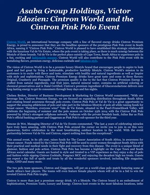 Asaba Group Holdings, Victor Edozien: Cintron World and the Cintron Pink Polo Event