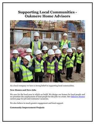Supporting Local Communities - Oakmere Home Advisors