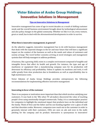 Victor Edozien of Asaba Group Holdings: Innovative Solutions in Management