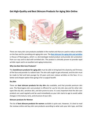 Skin Care Anti Aging Products