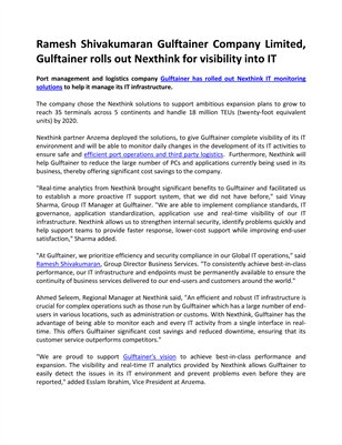 Ramesh Shivakumaran Gulftainer Company Limited, Gulftainer rolls out Nexthink for visibility into IT