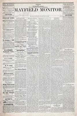 (PAGES 1-2) MAY 15th, 1880 MAYFIELD MONITOR NEWSPAPER, MAYFIELD, GRAVES COUNTY, KENTUCKY