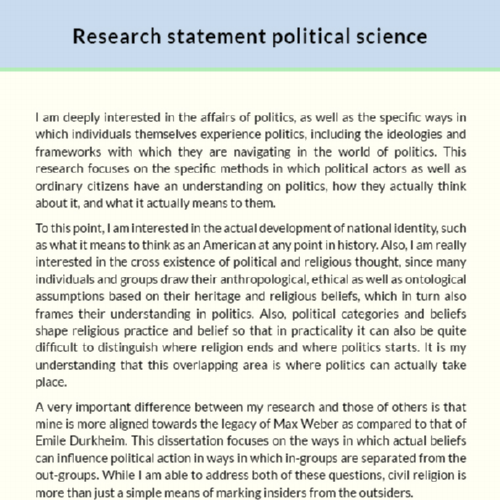 Political Science Research Statement Sample Edocr