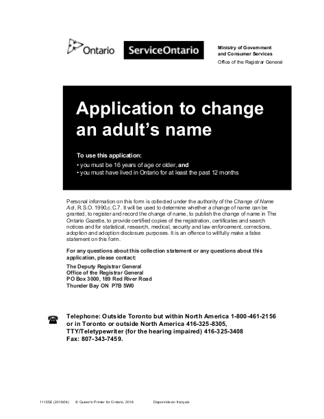 Application to change an adult name - Ontario Canada | edocr