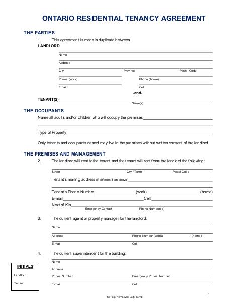 Ontario Lease Agreement Edocr