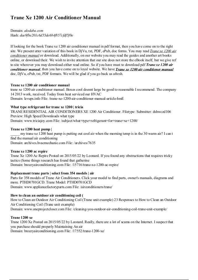 Trane Xe 1200 Air Conditioner Manual - alodaba com   edocr