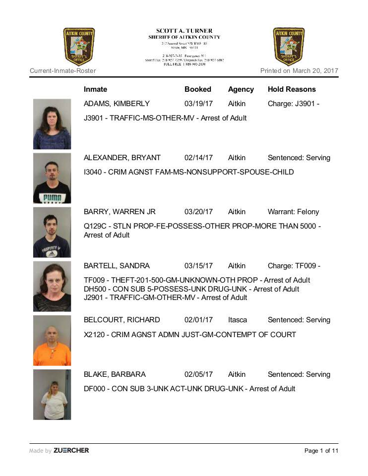 Current-Inmate-Roster Printed on March 17, 2017 | edocr