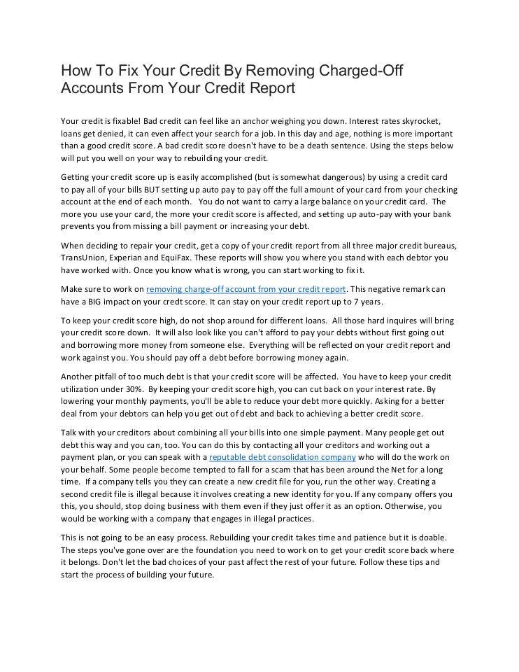 Charged Off As Bad Debt >> How To Fix Bad Credit By Removing Charged Off Accounts From