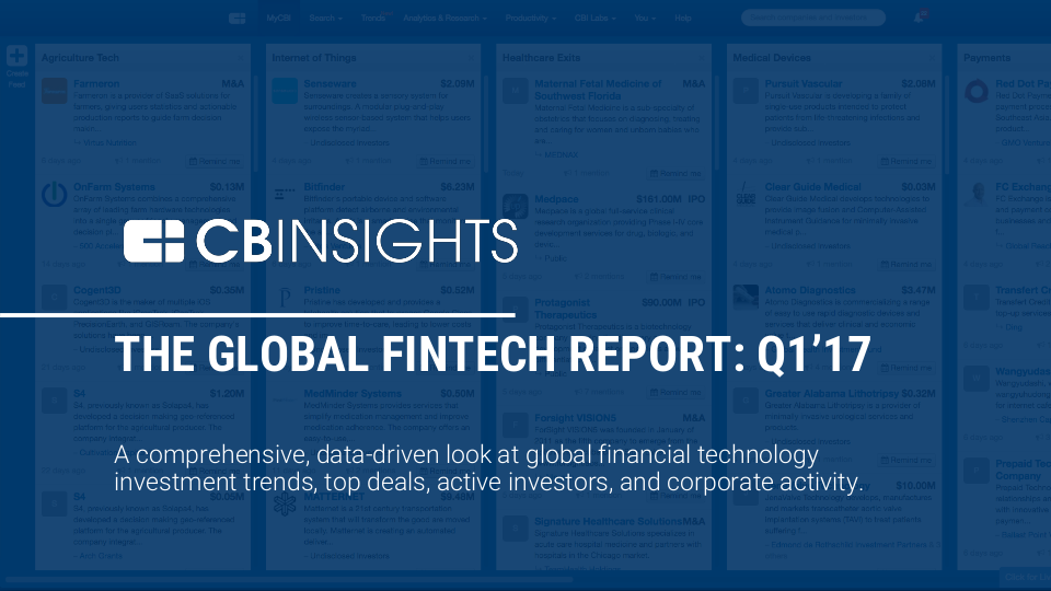 CBInsights Global Fintech Q1 2017 Report