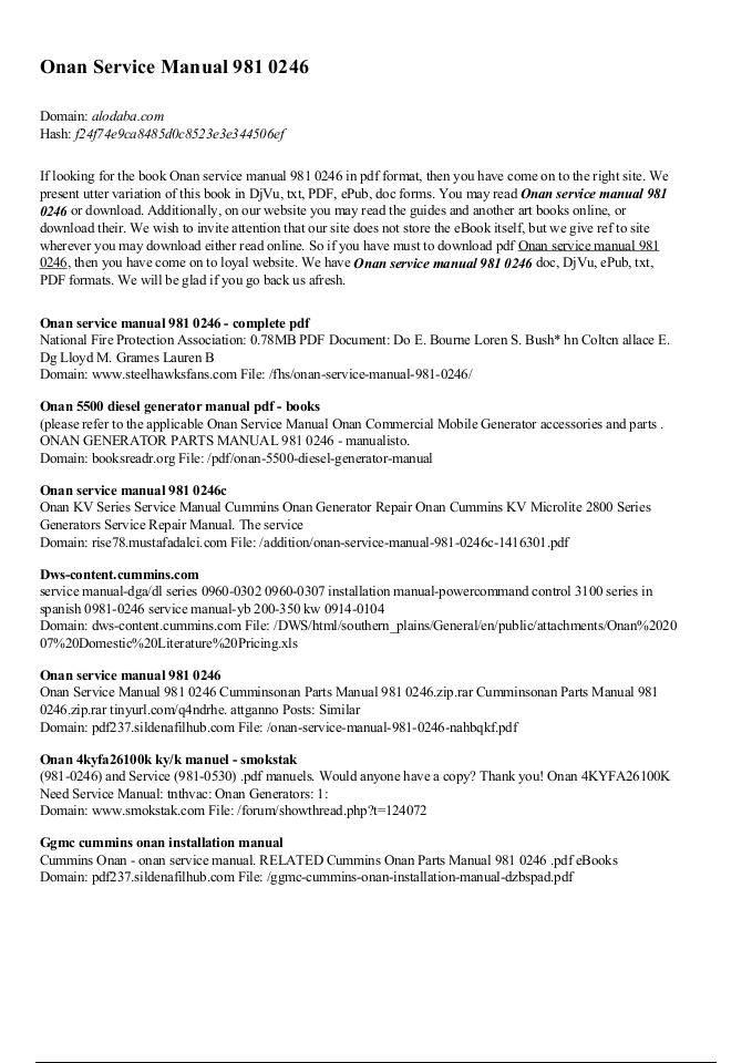 Onan Service Manual 981 0246 - alodaba com | edocr